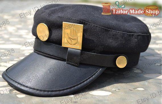 JoJos Bizarre Adventure Jotaro Kujo cosplay hat with badge  Size: head around: 58 CM  Badge size: height: 35mm width: 22 mm  Processing time:1-5
