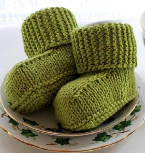 Bitty Baby Uggs | AllFreeKnitting.com- Free knitting patterns for babies are always pretty cute, but these Bitty Baby Uggs are adorable. Knit in the stockinette stitch, these little booties will help keep your baby's feet nice and toasty. No matter what color you choose, these make fabulous gifts.