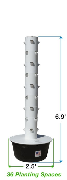 "Facts about the Tower Garden® - Future Growing® LLC base size 5'6"", add to make 6'9"" or add to make 8'1"""
