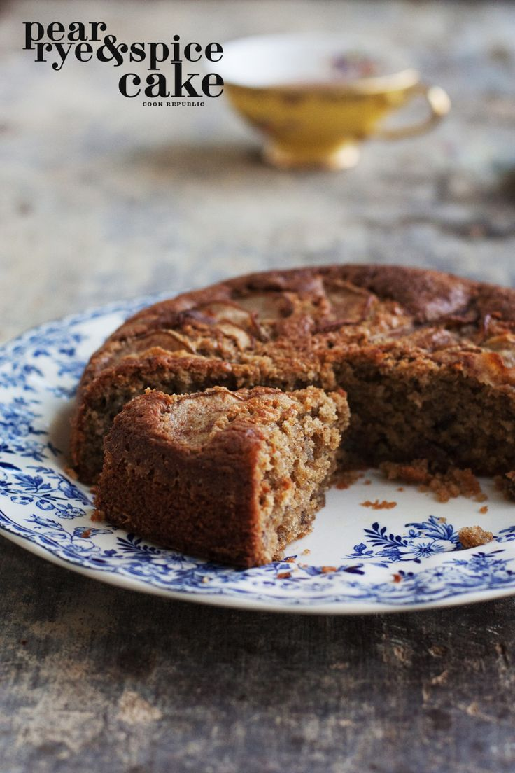Pear Rye And Spice Cake - Cook Republic.  This cake has only 1/2 cup Rye Flour and is mostly Almond Meal.