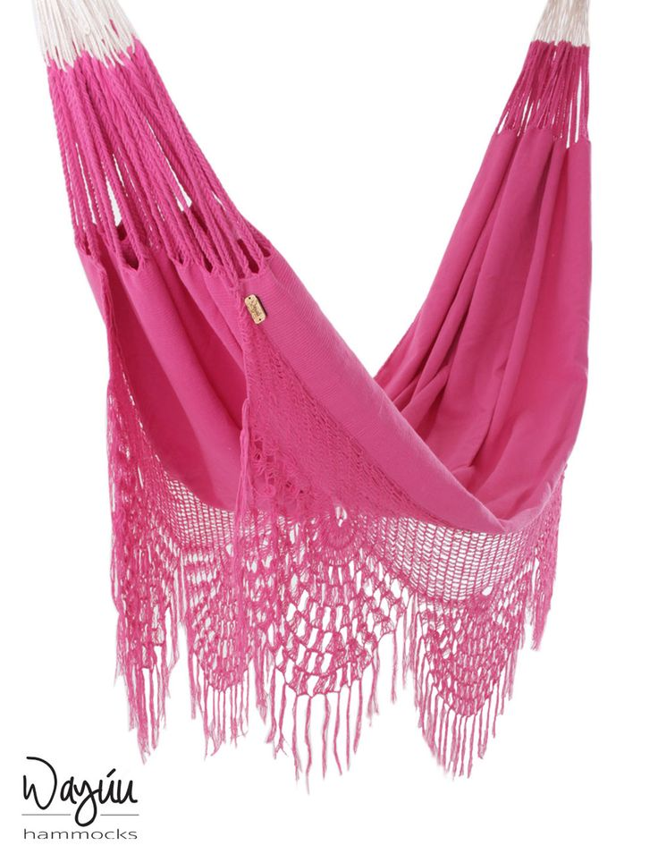 Delight in a sweet escape with this cheery pink hammock, sure to bring joyful rejuvenation to your day. The Macondo Hammock features breezy, delicate fringes that are handwoven by professional artisans in Colombia.