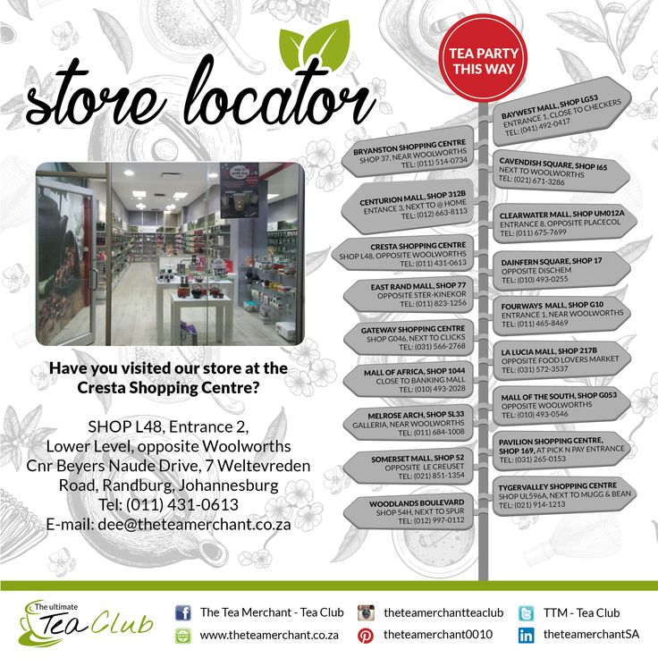 Helping you find us at your nearest locations!  Come have some tea with us at the Cresta Shopping Centre! #looseleaftea #teaware #teaobsessed #teamtea #tealover