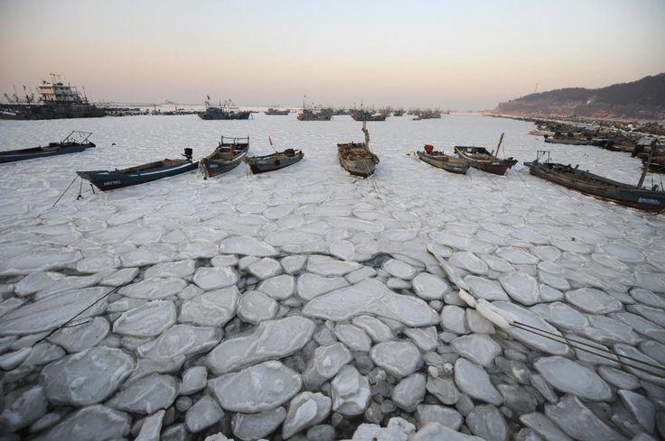 #Cina, acque del porto ghiacciate a #Yantai [FOTO]  Le barche da pesca bloccate nel #ghiaccio nel porto del villaggio di #Xikou, nella città di Yantai, nella provincia di #Shandong. www.meteoweb.eu