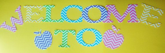 Welcome to class chevron bulletin board letters by SouthernScrappn, $7.25