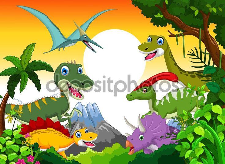 Ladda Ner - Dinosaurie tecknad med landskap bakgrund för din design — Stockbild #126328206