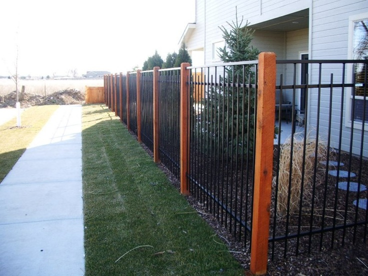 Fence Idea (Wrought Iron panels w/ WOOD posts)  http://www.anglerfencing.com
