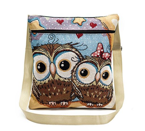 Fashion Icon Kabelka Blue Owls sovy crossbody přes rameno