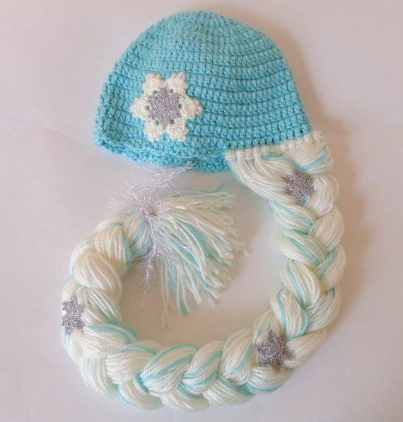 Elsa Frozen Crochet Hat  With Snowflake Flower - Disney Princess Queen Hat Crochet Wig - Choose your color and size
