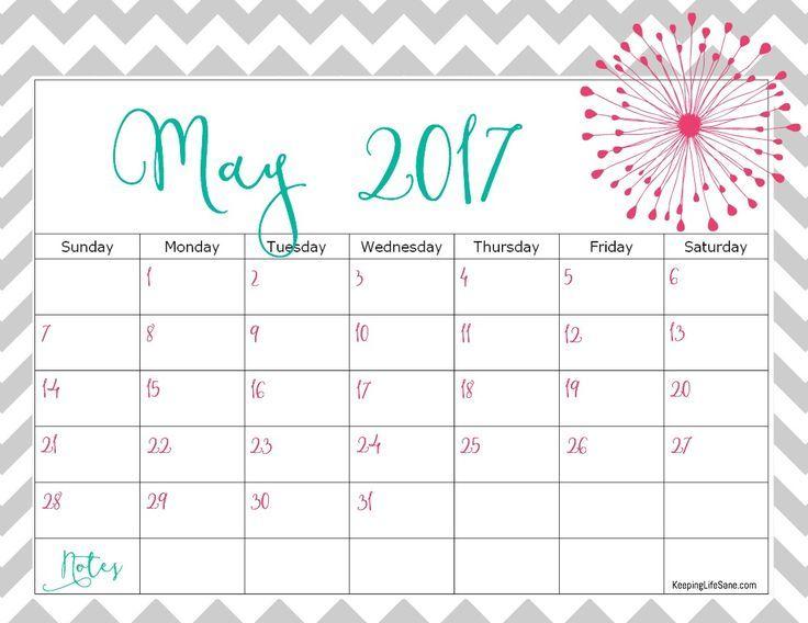 Cute May 2017 Calendar