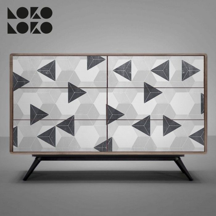 Triángulos, hexágonos y tonos neutros para la decoración de muebles con vinilo adhesivo / Triangles, hexagons and neutral tones for furniture decoration with adhesive vinyl #lokolokodecora #vinilomuebles #comodas