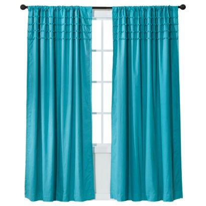 Got In Teal And In Yellow Xhilaration Solid With Pom Poms Light Blocking Window Panel 50x84