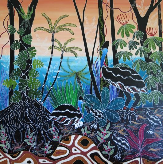 Cassowary Family ART OF MELANIE HAVA