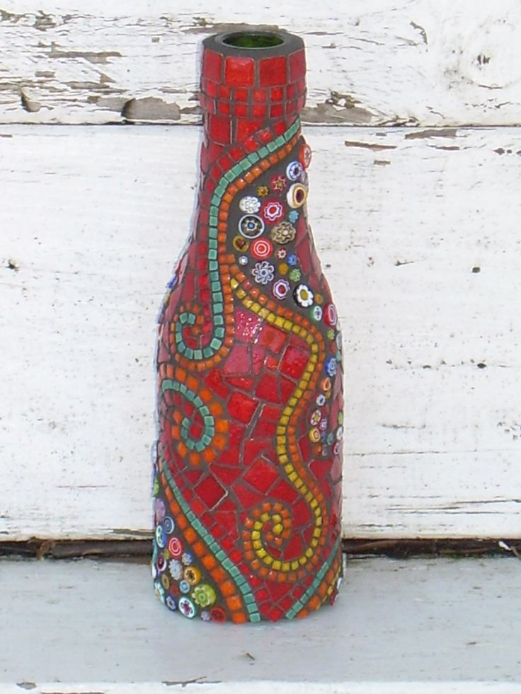 Mosaic on a recycled bottle