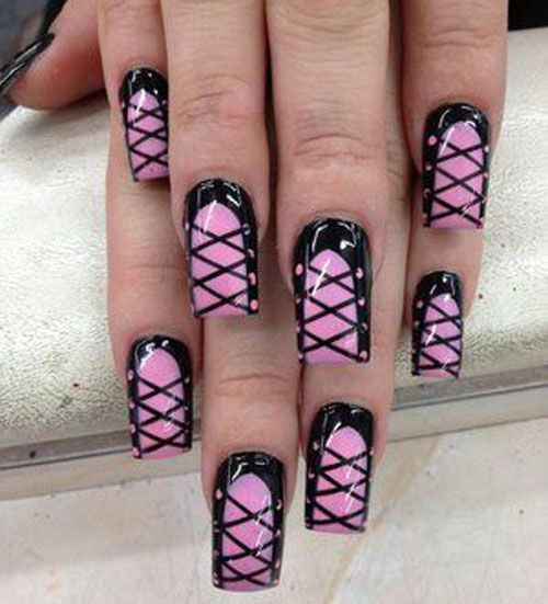 9 Best Corset Nail Art Designs:Sexy full nails bow designs: