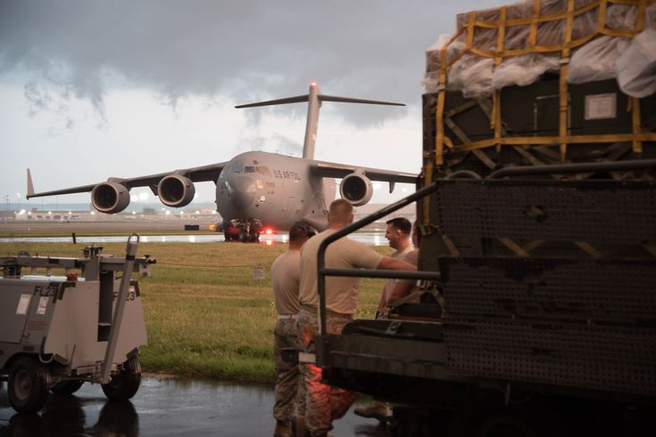 A Tennessee Air National Guard C-17 Globemaster III taxies on the ramp at the Kentucky ANG base in Louisville, Ky., Aug. 29, 2017, prior to loading more than 40 Airmen and 45 tons of cargo from the Kentucky and Mississippi ANG in preparation for Hurricane Harvey rescue efforts in Texas. The Airmen are deploying to George Bush Intercontinental Airport in Houston, where they will rapidly establish airfield, aeromedical evacuation and cargo operations.
