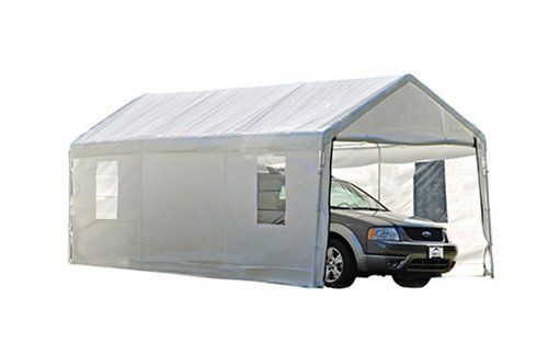 """ShelterLogic 10x20 Canopy Enclosure Kit with Windows for 1-3/8"""" Frame (White) by Shelter Logic. $109.74. Pre-fit wall panels go up fast with bungee fasteners. For use with Max AP canopies with 1-3/8-inch frames (sold separately). Made of triple-layer, rip-stop, woven polyethylene fabric material. Enclosure kit includes back panel, two side walls, and a double-zippered door. 50+ UPF (Ultraviolet Protection Factor) rating blocks more than 98 percent of UV harmful rays. Am..."""