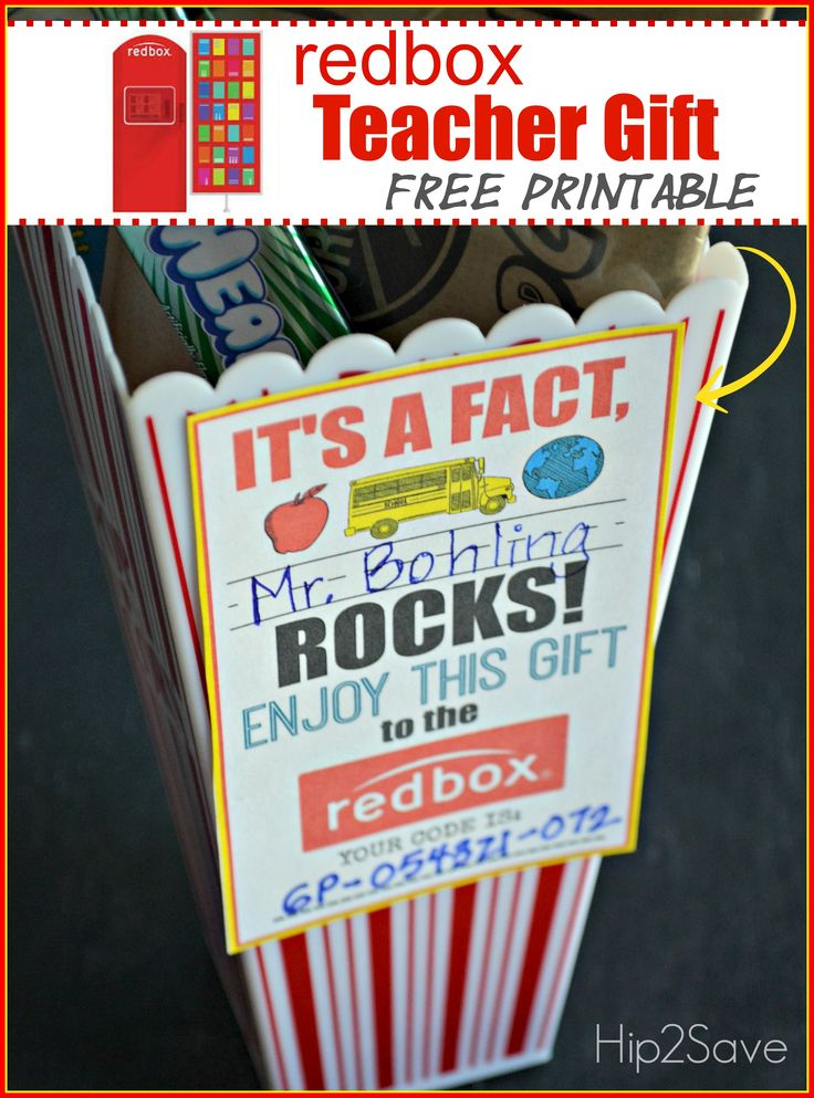 Teacher Appreciation Gift Idea: Gift a Redbox Code (Free Printable Card) – Hip2Save