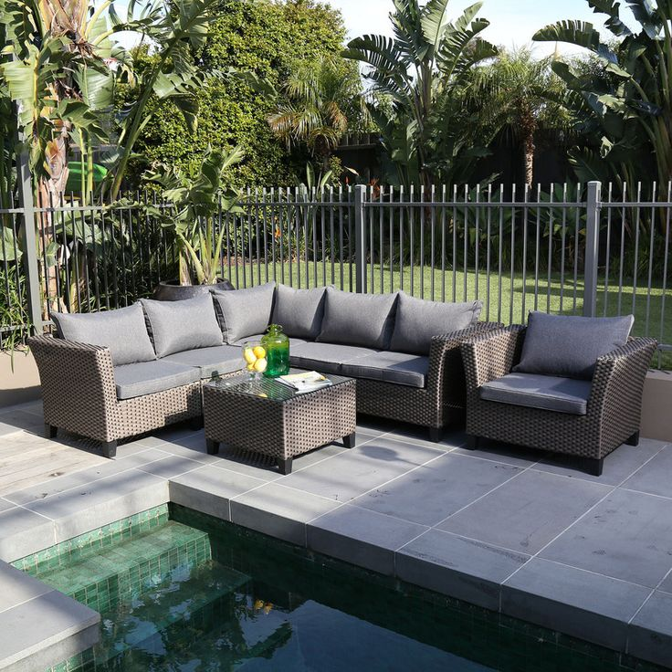Elegant Excalibur Outdoor Living Wisconsin 7 Piece Lounge Set Part 8