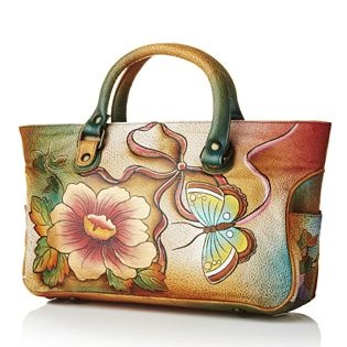 Anuschka Hand Painted Leather Satchel Bag with Detachable Stra