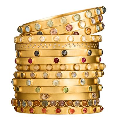 Handcrafted 22k gold bangle bracelets with colored gemstones from Stephanie Albertson          Read more: http://www.pricescope.com/blog/summer-jewels-its-all-about-color#ixzz21nBlrayf