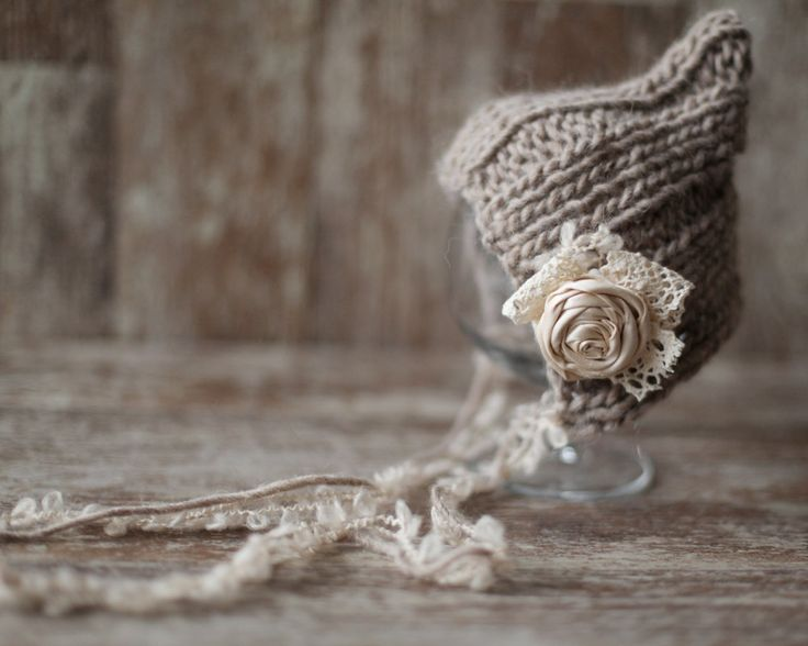 Knitted Newborn Hat  Wool Baby Girl Bonnet by SmallandLovely, $19.00