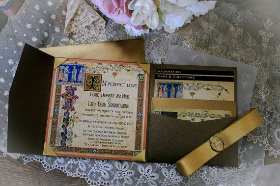 Medieval Style Illuminated Manuscript Wedding Invitation for the Lord and Lady
