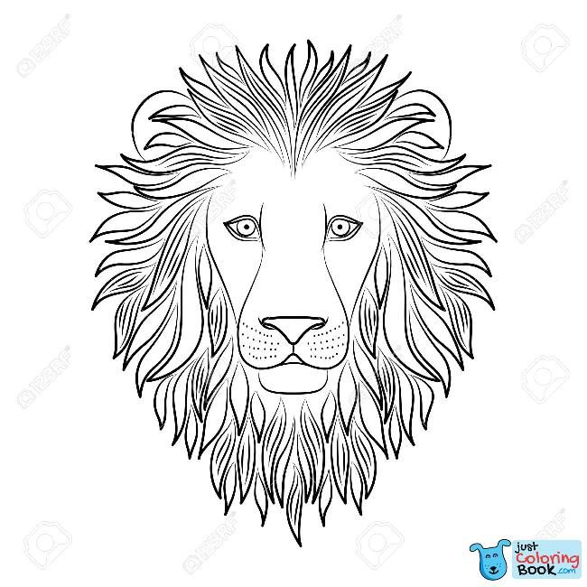 Isolated Black Outline Head Of Lion On White Background Line With Regard To Lion Portrait Coloring Pages D Lion Coloring Pages Lion Face Drawing Lion Painting