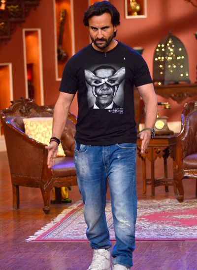 Saif Ali Khan wore tee shirts with denim and sneakers