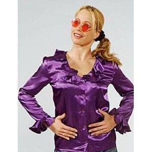 Déguisement chemise violette femme deluxe, chemise  satin violet chic années 60-70, hippie, rock'n roll, fêtes.