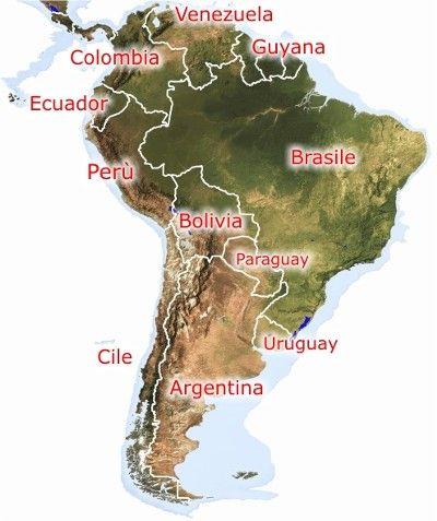 La mapa de sur de America