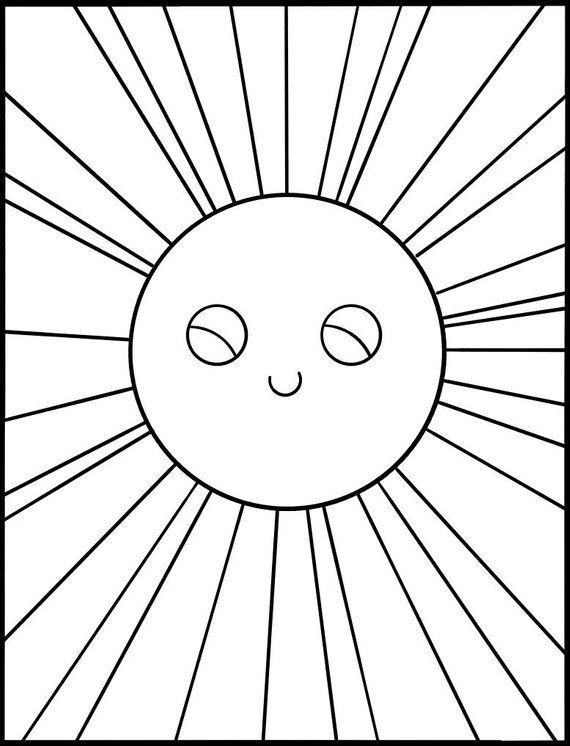 Kids Coloring Page Download Happy Cute Sun Printable Coloring Etsy In 2020 Emoji Coloring Pages Coloring Pages For Kids Coloring Pages