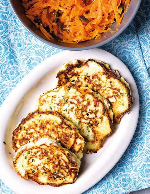 Ham and ricotta fritters with carrot salad