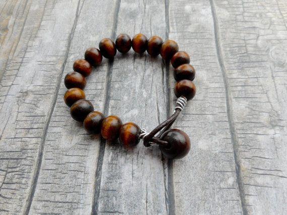 Bruin leren coole tribal armband / houten kralen / heren dames sieraad / stoere…