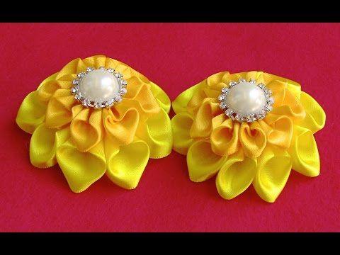 Flor de fita de Cetim com duas camadas Passo a Passo -Ribbon Flower-diy - YouTube