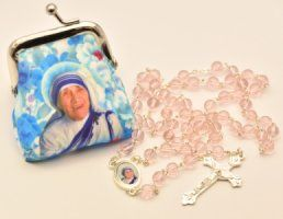 Mother Teresa Rosary Beads & Rosary Purse..