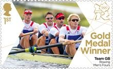Royal Mail 'next day' gold medal stamps for Team GB - Rowing Men's four #London2012 #Olympics