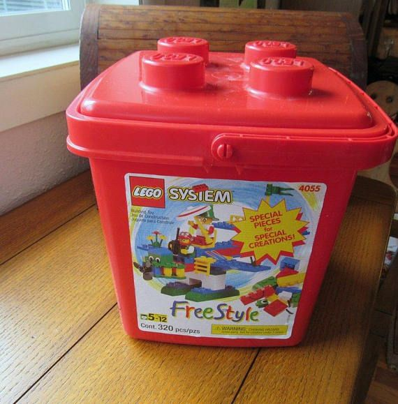 Lego System Free Style 320 Piece Set In Original Red Plastic