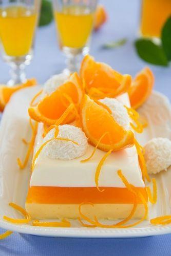 Creamy orange jelly with tangerines and chocolates.