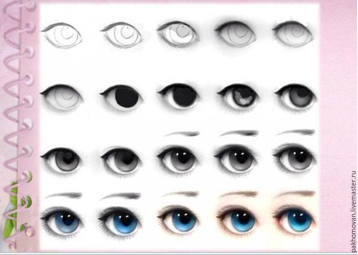 Роспись лица текстильной куклы: глаза