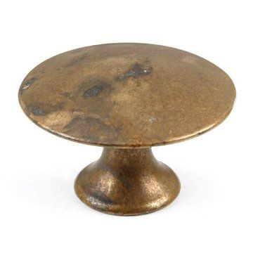 the distressed antique brass flat top knob from classic hardware features classic design and exquisitely rendered detail