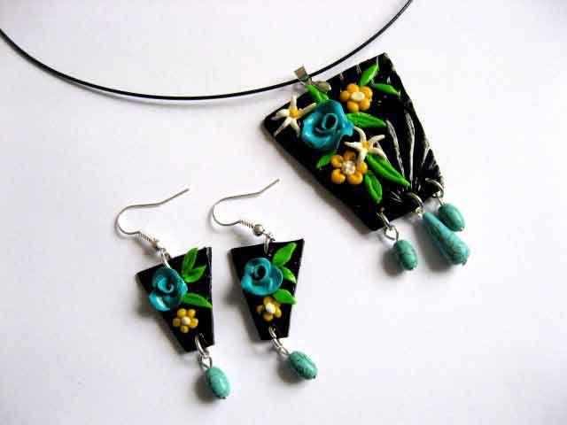 Set #pastă #polimerică #fimo şi #turcoaz - #pietre #semipreţioase, set #bijuterii #femei, #colier şi #cercei / Set #polymeric #paste fimo and #turquoise - #semi #precious #stones, set of #women's #jewelry, #necklace and #earrings / #세트 #폴리머 #붙여 넣기 및 #청록색 - #세미 #보석, #여성 #보석, #목걸이 및 #귀걸이 #세트 https://handmade.luxdesign28.ro/produs/set-fimo-si-turcoaz-sau-peruzea-set-bijuterii-femei-colier-si-cercei-29069/