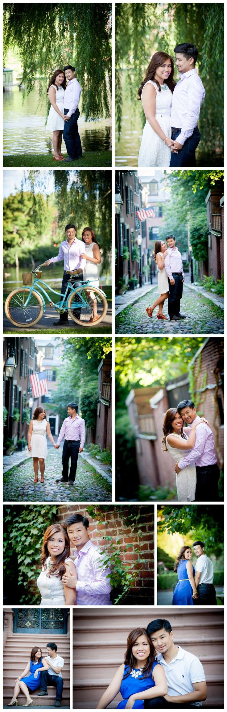 Back Bay Boston Engagement Shoot featuring vintage huffy bike, urban backdrops and the Boston Public Garden. BKB & CO. | Boston Wedding Photography and Video Studio