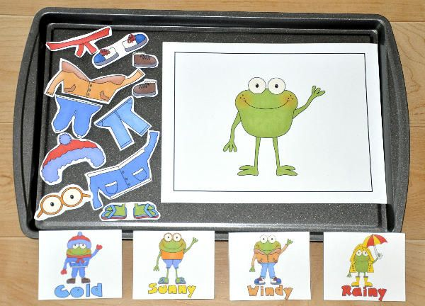What's the Weather, Willy Weather Frog?  In this cookie sheet activity, students look at weather cards and dress Willy the Weather Frog according to the weather.