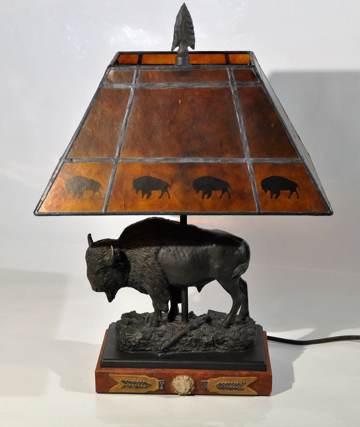 Bronze Sculpture Buffalo Lamp with Mica Shade/Southwestern style bronze Buffalo lamp/American Buffalo Bison Handcart/ Shade Sculptural Lamp by decor4home2 on Etsy
