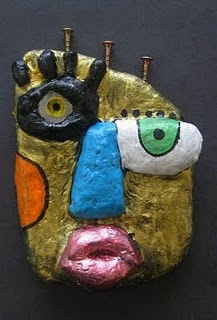 What a great face!picasso faces made with plaster on a cardboard form with tinfoil or newspaper noses etc.