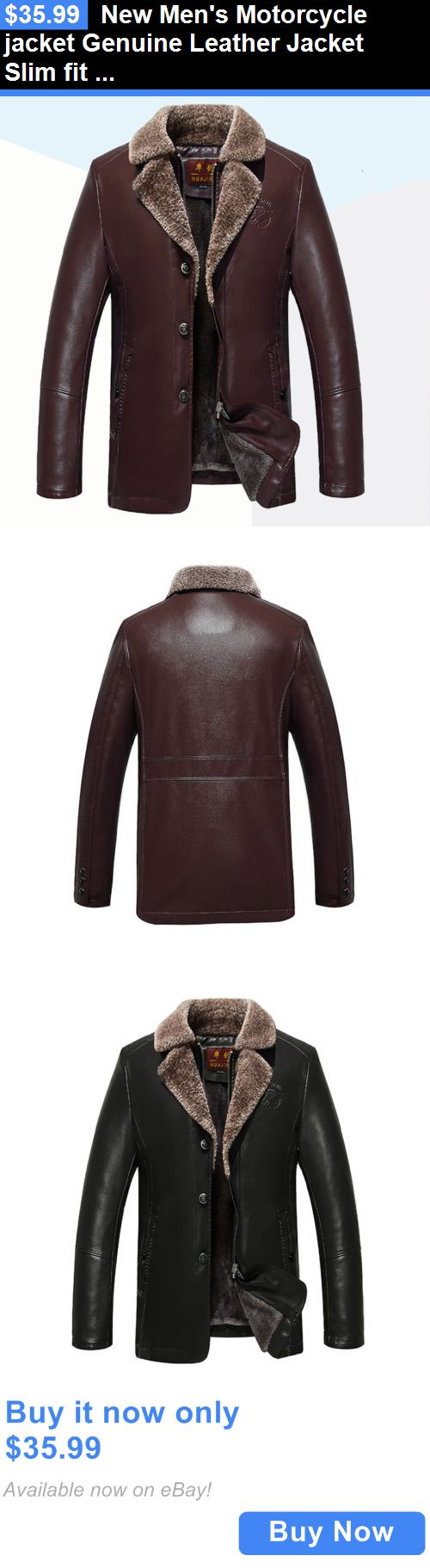 Men Coats And Jackets: New Mens Motorcycle Jacket Genuine Leather Jacket Slim Fit Biker BUY IT NOW ONLY: $35.99