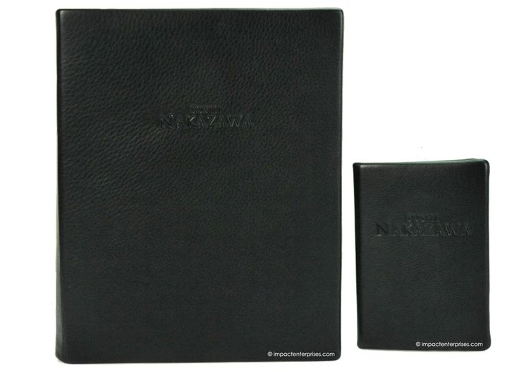 Sushi Nakazawa - Genuine Leather - Genuine leather menu covers, foil deboss  stamped logo and