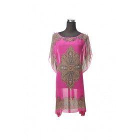 Silk Kaftan Top - Hot Pink