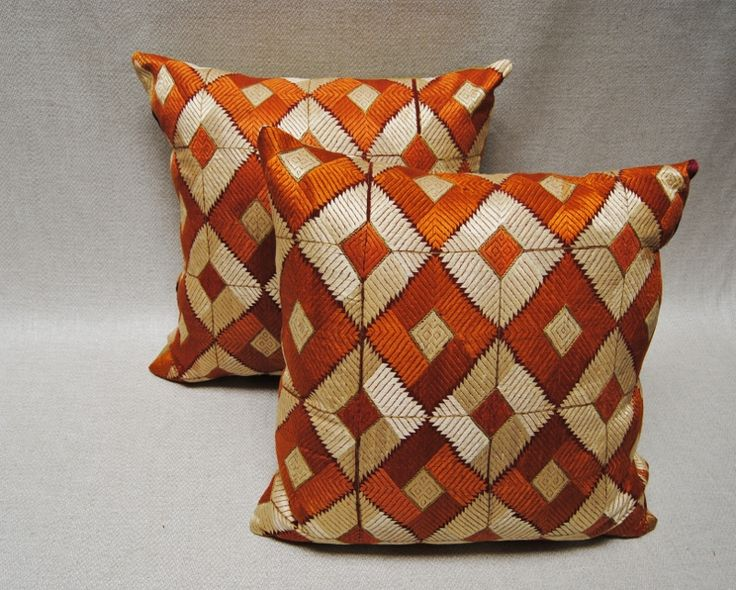 Custom Pillows made from a vintage Phulkari Bagh wedding shawl from Punjab, India.  Maison Suzanne Gallery