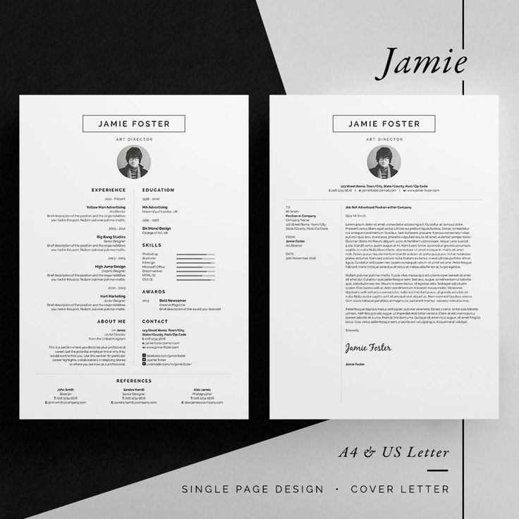 ◼︎ Includes FREE Matching Business Card Design Introducing Jamie, a beautiful vertical design with a small photo. Including a single page resume/cv and cover letter. All artwork and text is fully customisable; Easily edit the typography, wording, colors and layout. Each template uses a strong baseline/document grid which will allow you to edit or add to the layout very easily. International A4 & US Letter sizes included Includes 80 Social Icons for use within your layout (InD...